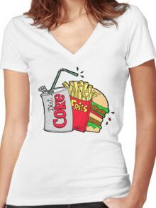 junk food and a diet coke Women's Fitted V-Neck T-Shirt