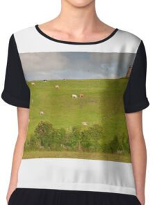 rural ireland scenic nature cows countryside landscape Chiffon Top