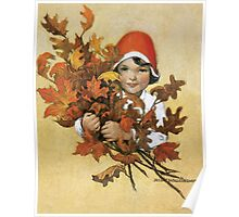 Jessie Willcox Smith - Girl With Fall Leaves. Child portrait: cute baby, kid, children, pretty angel, child, kids, lovely family, boys and girls, boy and girl, mom mum mammy mam, childhood Poster