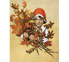 Jessie Willcox Smith - Girl With Fall Leaves. Child portrait: cute baby, kid, children, pretty angel, child, kids, lovely family, boys and girls, boy and girl, mom mum mammy mam, childhood Photographic Print