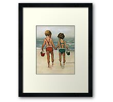 Jessie Willcox Smith - Hand In Hand On The Beach. Child portrait: cute baby, kid, children, pretty angel, child, kids, lovely family, boys and girls, boy and girl, mom mum mammy mam, childhood Framed Print