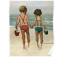 Jessie Willcox Smith - Hand In Hand On The Beach. Child portrait: cute baby, kid, children, pretty angel, child, kids, lovely family, boys and girls, boy and girl, mom mum mammy mam, childhood Poster