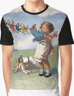 Jessie Willcox Smith - Hanging Doll Clothes On A Windy Day. Child portrait: cute baby, kid, children, pretty angel, child, kids, lovely family, boys and girls, boy and girl, mom mum mammy mam, Graphic T-Shirt
