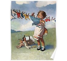 Jessie Willcox Smith - Hanging Doll Clothes On A Windy Day. Child portrait: cute baby, kid, children, pretty angel, child, kids, lovely family, boys and girls, boy and girl, mom mum mammy mam, Poster