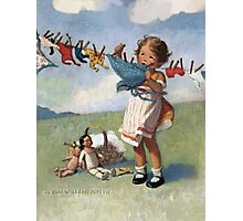 Jessie Willcox Smith - Hanging Doll Clothes On A Windy Day. Child portrait: cute baby, kid, children, pretty angel, child, kids, lovely family, boys and girls, boy and girl, mom mum mammy mam, Photographic Print