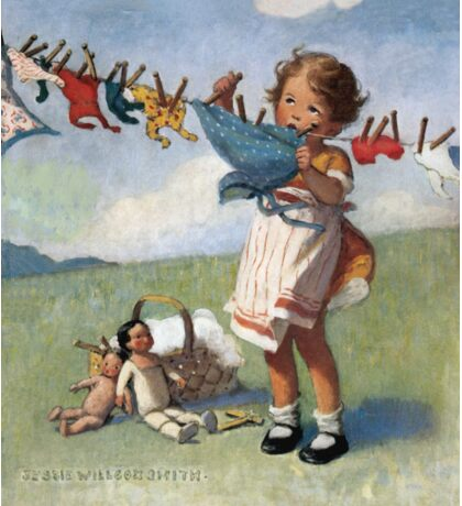 Jessie Willcox Smith - Hanging Doll Clothes On A Windy Day. Child portrait: cute baby, kid, children, pretty angel, child, kids, lovely family, boys and girls, boy and girl, mom mum mammy mam, Sticker