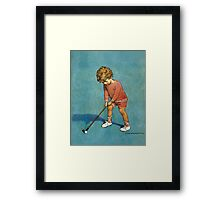 Jessie Willcox Smith - I Can Play Golf!. Child portrait: cute baby, kid, children, pretty angel, child, kids, lovely family, boys and girls, boy and girl, mom mum mammy mam, childhood Framed Print