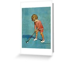 Jessie Willcox Smith - I Can Play Golf!. Child portrait: cute baby, kid, children, pretty angel, child, kids, lovely family, boys and girls, boy and girl, mom mum mammy mam, childhood Greeting Card