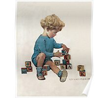 Jessie Willcox Smith - Little Boy Playing With Blocks. Child portrait: cute baby, kid, children, pretty angel, child, kids, lovely family, boys and girls, boy and girl, mom mum mammy mam, childhood Poster
