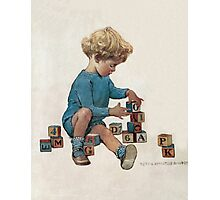 Jessie Willcox Smith - Little Boy Playing With Blocks. Child portrait: cute baby, kid, children, pretty angel, child, kids, lovely family, boys and girls, boy and girl, mom mum mammy mam, childhood Photographic Print