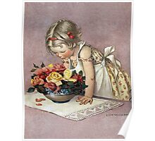 Jessie Willcox Smith - Little Girl Admiring A Bowl Of Roses. Child portrait: cute baby, kid, children, pretty angel, child, kids, lovely family, boys and girls, boy and girl, mom mum mam, childhood Poster