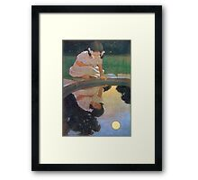Jessie Willcox Smith - Looking At The Moon S Reflection. Child portrait: cute baby, kid, children, pretty angel, child, kids, lovely family, boys and girls, boy and girl, mom mum mammy mam, childhood Framed Print