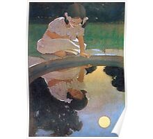 Jessie Willcox Smith - Looking At The Moon S Reflection. Child portrait: cute baby, kid, children, pretty angel, child, kids, lovely family, boys and girls, boy and girl, mom mum mammy mam, childhood Poster