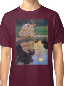 Jessie Willcox Smith - Looking At The Moon S Reflection. Child portrait: cute baby, kid, children, pretty angel, child, kids, lovely family, boys and girls, boy and girl, mom mum mammy mam, childhood Classic T-Shirt