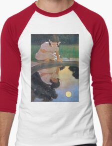 Jessie Willcox Smith - Looking At The Moon S Reflection. Child portrait: cute baby, kid, children, pretty angel, child, kids, lovely family, boys and girls, boy and girl, mom mum mammy mam, childhood Men's Baseball ¾ T-Shirt