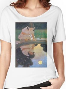 Jessie Willcox Smith - Looking At The Moon S Reflection. Child portrait: cute baby, kid, children, pretty angel, child, kids, lovely family, boys and girls, boy and girl, mom mum mammy mam, childhood Women's Relaxed Fit T-Shirt