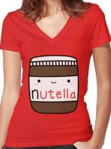Nutella kawaii. Women's Fitted V-Neck T-Shirt