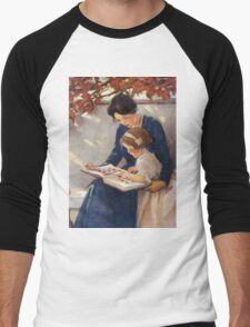 Jessie Willcox Smith - Mother Helps With The Abc Mother with kid portrait: cute girl, mother and daughter, female, pretty angel, child, beautiful dress, lovely family, mothers day, memory, mom, baby Men's Baseball ¾ T-Shirt