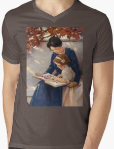 Jessie Willcox Smith - Mother Helps With The Abc Mother with kid portrait: cute girl, mother and daughter, female, pretty angel, child, beautiful dress, lovely family, mothers day, memory, mom, baby Mens V-Neck T-Shirt