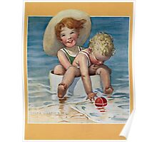Jessie Willcox Smith - Two Children Playing In The Ocean. Child portrait: cute baby, kid, children, pretty angel, child, kids, lovely family, boys and girls, boy and girl, mom mum mammy mam, childhood Poster