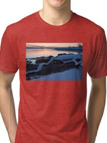 Icy, Snowy Winter Sunrise on the Lake Tri-blend T-Shirt
