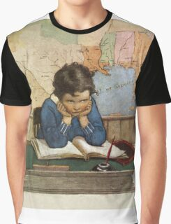 Jessie Willcox Smith - Young Boy Day Dreaming At A School Desk. Child portrait: cute baby, kid, children, pretty angel, child, kids, lovely family, boys and girls, boy and girl, mom mum mam, childhood Graphic T-Shirt