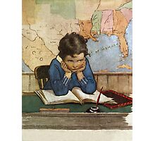 Jessie Willcox Smith - Young Boy Day Dreaming At A School Desk. Child portrait: cute baby, kid, children, pretty angel, child, kids, lovely family, boys and girls, boy and girl, mom mum mam, childhood Photographic Print