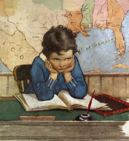 Jessie Willcox Smith - Young Boy Day Dreaming At A School Desk. Child portrait: cute baby, kid, children, pretty angel, child, kids, lovely family, boys and girls, boy and girl, mom mum mam, childhood Sticker