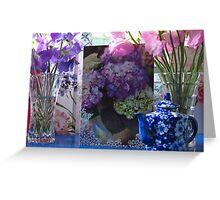 Still life garden - Sweet Pea Birthday flowers Greeting Card