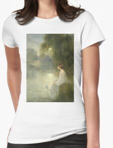 Joan Brull Vinyoles - Somni. Lake landscape: trees, river, land, forest, coast seaside, waves and beach, marine naval navy, lagoon reflection, sun and clouds, nautical panorama, lake Womens Fitted T-Shirt