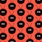 Red Cute Dazzled Bugs Pattern by Boriana Giormova