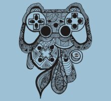 Games Console Zentangle all Black by Tangldltd