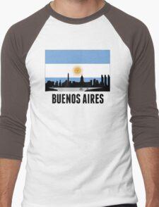 Buenos Aires Argentinian Flag Men's Baseball ¾ T-Shirt