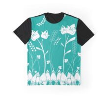 Turquoise Flower Garden Graphic T-Shirt