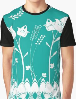 Turquoise Flower Garden Graphic T-Shirt
