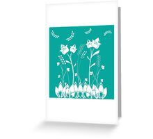 Turquoise Flower Garden Greeting Card