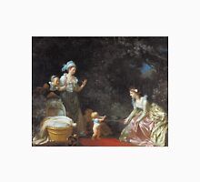 Jean-Honore Fragonard - The First Steps. Mother with kid portrait: cute girl, mother and daughter, female, pretty angel, child, beautiful dress, lovely family, mothers day, memory, mom mum mam, baby Unisex T-Shirt