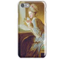 Jean-Honore Fragonard - The Love Letter 1770. Woman portrait: sensual woman, girly art, female style, pretty women, femine, beautiful dress, cute, creativity, love, sexy lady, erotic pose iPhone Case/Skin