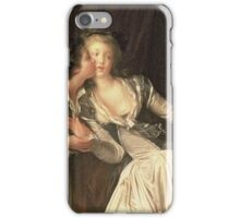 Jean-Honore Fragonard - The Stolen Kiss. Lovers portrait: sensual woman, woman and man, kiss, kissing lovers, love relations, lovely couple, family, valentine's day, sexy, romance, female and male iPhone Case/Skin