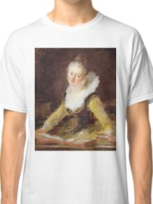 Jean-Honore Fragonard - The Study, Or The Song. Woman portrait: sensual woman, girly art, female style, pretty women, femine, beautiful dress, cute, creativity, love, sexy lady, erotic pose Classic T-Shirt