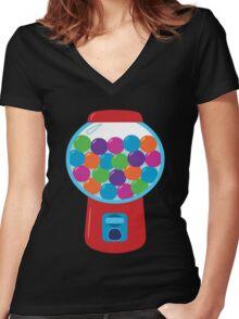Retro Gumball Machine Women's Fitted V-Neck T-Shirt