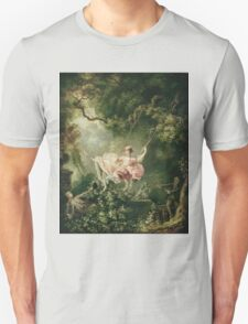 Jean-Honore Fragonard - The Swing. Lovers portrait: sensual woman, woman and man, kiss, kissing lovers, love relations, lovely couple, family, valentine's day, sexy, romance, female and male Unisex T-Shirt