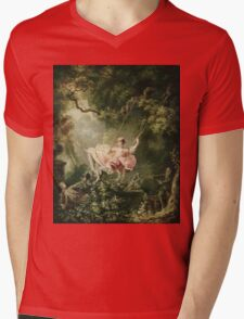 Jean-Honore Fragonard - The Swing. Lovers portrait: sensual woman, woman and man, kiss, kissing lovers, love relations, lovely couple, family, valentine's day, sexy, romance, female and male Mens V-Neck T-Shirt