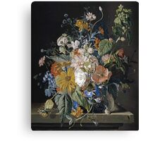 Jan Van Huysum - Poppies, Hollyhock, Morning Glory, Viola, Daisies. Still life with flowers: flowers, blossom, nature, botanical, floral flora, wonderful flower, plants, garden, vase Canvas Print