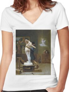 Jean-Leon Gerome - Pygmalion And Galatea. Lovers portrait: sensual woman, woman and man, kiss, kissing lovers, love relations, lovely couple, family, valentine's day, sexy, romance, female and male Women's Fitted V-Neck T-Shirt