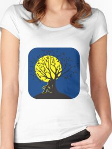 full moon melancholy romanticism tree Women's Fitted Scoop T-Shirt