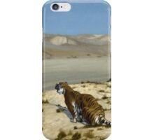 Jean-Leon Gerome - Tiger On The Watch. Mountains landscape: mountains, rocks, rocky nature, sky and clouds, Tiger, peak, forest, rustic, hill, travel, hillside iPhone Case/Skin