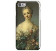 Jean-Marc Nattier - Portrait Of A Young Woman. Woman portrait: sensual woman, girly art, female style, pretty women, femine, beautiful dress, cute, creativity, love, sexy lady, erotic pose iPhone Case/Skin