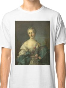 Jean-Marc Nattier - Portrait Of A Young Woman. Woman portrait: sensual woman, girly art, female style, pretty women, femine, beautiful dress, cute, creativity, love, sexy lady, erotic pose Classic T-Shirt