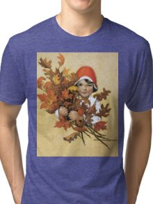 Jessie Willcox Smith - Girl With Fall Leaves. Child portrait: cute baby, kid, children, pretty angel, child, kids, lovely family, boys and girls, boy and girl, mom mum mammy mam, childhood Tri-blend T-Shirt